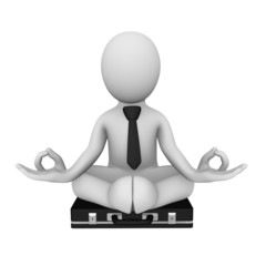 3d businessman sitting in lotus pose
