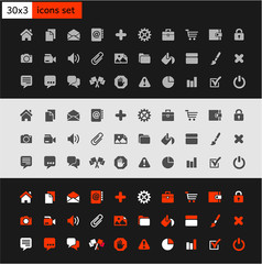 Set 30x3 popular icons on the web