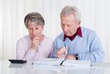 Stressed Senior Couple Calculating Budget