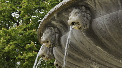 Fountain detail at Place des Vosges, Paris, France.