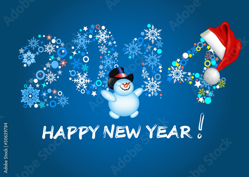 Vector: Happy new year 2014. Christmas. Blue background.