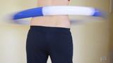 Body train sport home. Girl turn hula hoop ring waist back ass