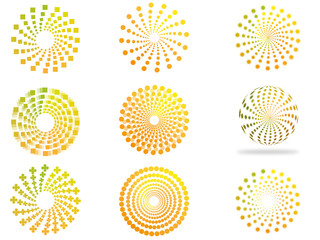 Creative circles yellow green shades