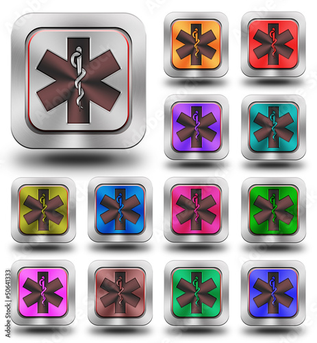 Pharmacy aluminum glossy icons, crazy colors