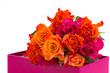 pile of roses in box
