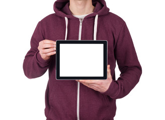 young man holding blank digital tablet. clipping path