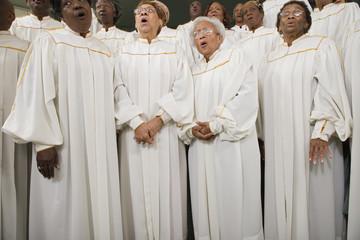 African seniors singing in choir