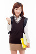 Young pretty Asian student showing fist