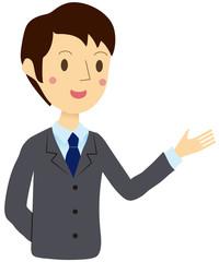 紹介するビジネスマン