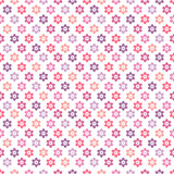 Seamless Pattern Colored Flowers Retro