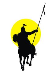 Medieval oriental warrior on horseback   vector silhouette