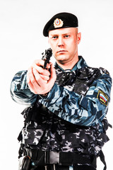 police special squad officer in full ammunition
