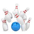 Blue ball knocks down pins for bowling
