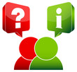 2 People Speech Bubbles Question & Information Red/Green