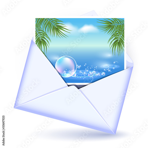 Envelope and card with image palm