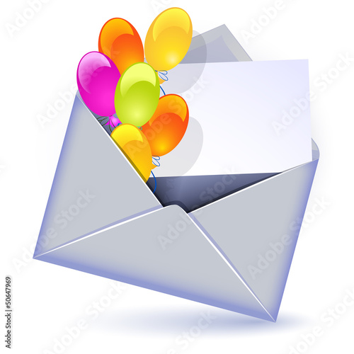 Envelope with balloons and letter