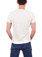 back view of young man wearing blank white t-shirt isolated on