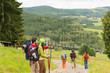 Young hikers enjoying scenic view on mountain