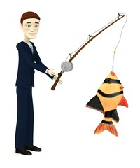 3d render of cartoon character with fish
