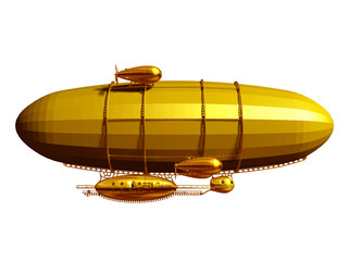golden, magical Zeppelin airship