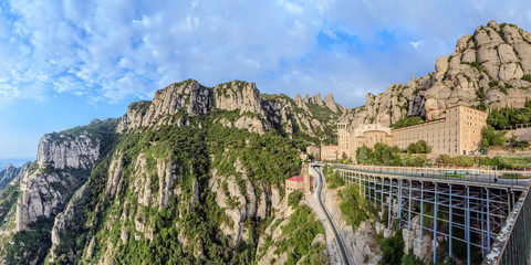 Santa Maria de Montserrat monastery, Spain. Panoramic of 50Mpx