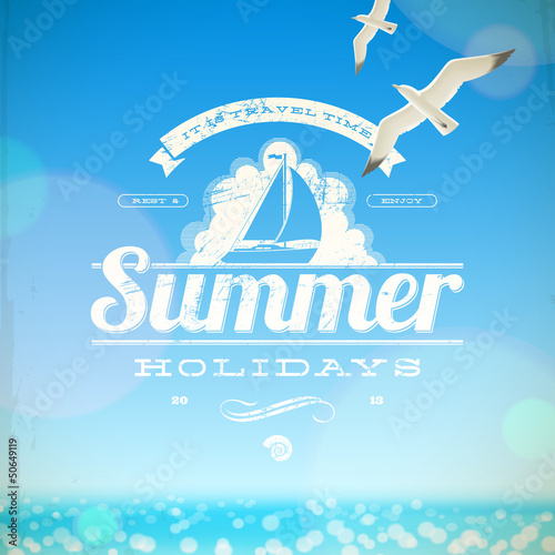 Summer holidays vector emblem with yacht and seagulls