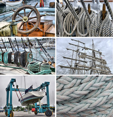 set of images of sailing and navigation