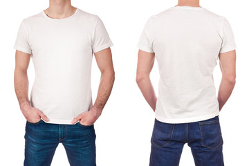 Front and back view of young man wearing blank white t-shirt