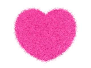 3d pink furry heart