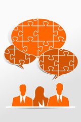 Quiz speech bubble teamwork concept
