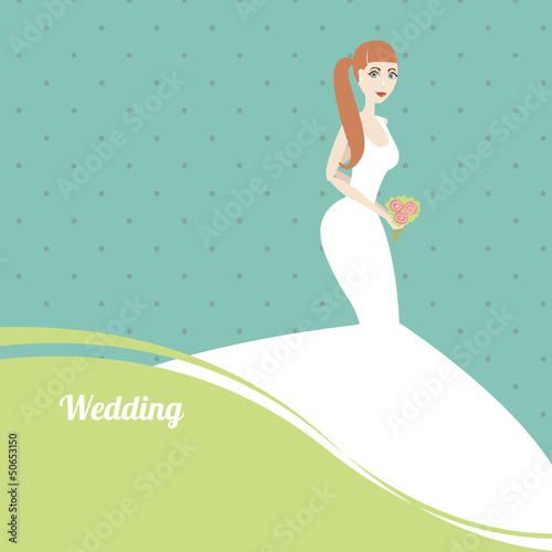 Beautiful bride with a bouquet on blue background