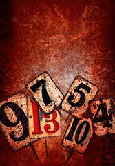 grunge numbers red