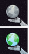 Robot hand holding planet