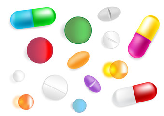 Set with vector different pills