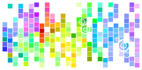 Abstract Mosaic Rainbow Colored Rectangles With Circles