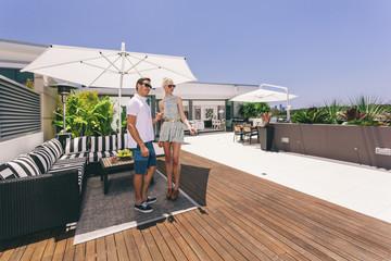 Attractive couple on balcony