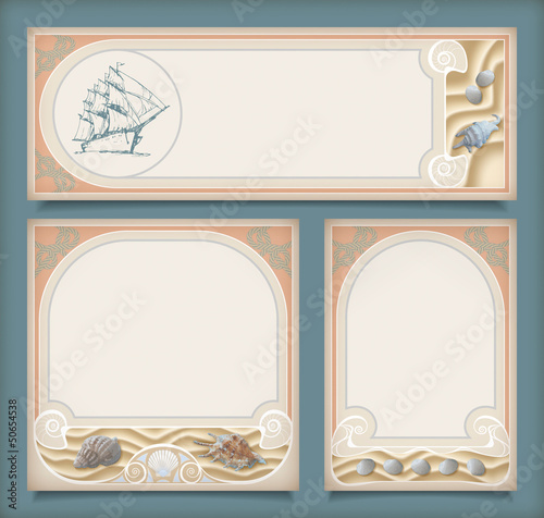 Set of sea vintage vacation frame banners, labels