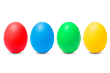 Row of four painted eggs