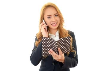 スマートフォンで会話中のオフィスレディー