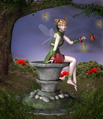 Beautiful fairy sits on a pedestal