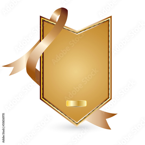 Vector gold advertising element with ribbon