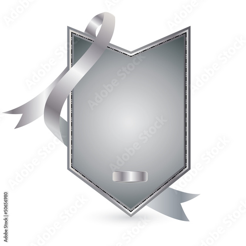 Vector silver advertising element with ribbon