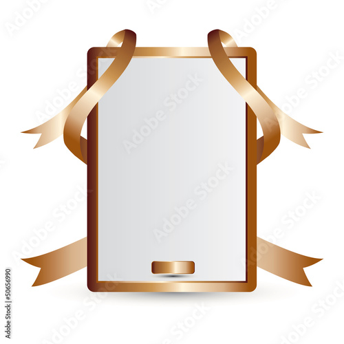 Vector gold advertising element with ribbons