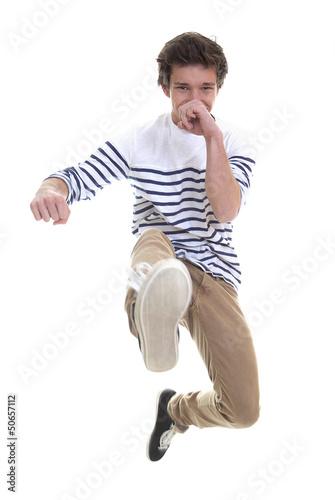 teen or man jumping