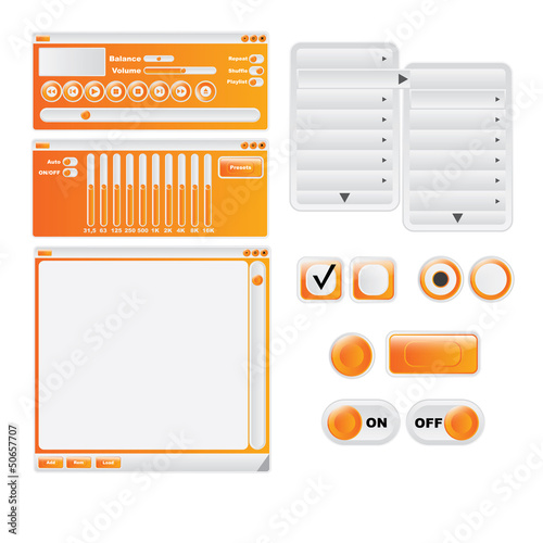 Vector orange media player design / user interface elements