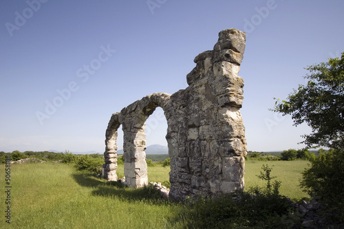 Ruins of Roman Legion camp in National park Krka, Croatia