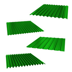 four green sheets of stainless steel on a white