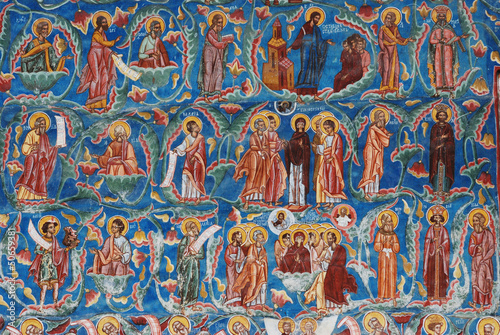 Detail of a fresco, painted church, Sucevita, Bucovina, Romania