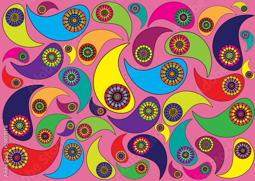 color vector background with paisley ornaments
