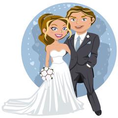 Joven pareja de boda